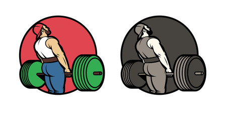 Vector set of logos for the sport club in color and black and white. Design stickers, movies, logo athlete with a barbell. Isolated logo man raises barbell view from the back
