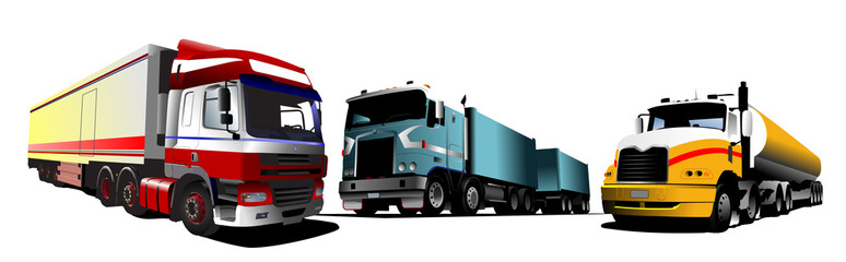 Colored Vector illustration of trucks. Help for designers