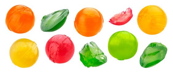 Multicolor sweet lollipop whole and bitten pieces set
