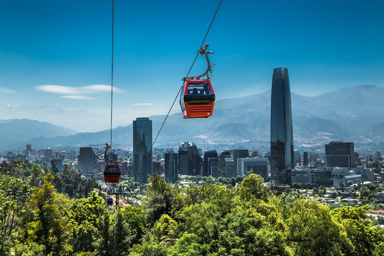 Cable car in San Cristobal hill overlooking on Santiago, Chile.