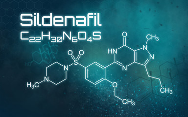 Chemical formula of Sildenafil on a futuristic background