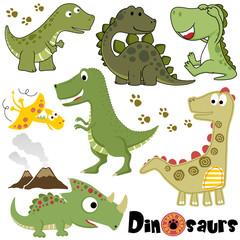 Vector set of dinosaurs cartoon