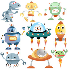 Vector set of funny robots cartoon