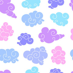 Funny cartoon seamless pattern of clouds of different shapes with beautiful curves and shapes. Purple colors on a white background is perfect for a children's print and to create flat style illustra