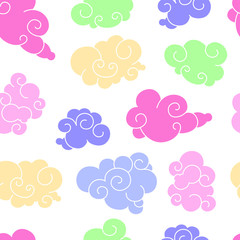 Funny cartoon seamless pattern of clouds of different shapes with beautiful curves and shapes. Bright colors on a white background is perfect for a children's print and to create flat style illustra