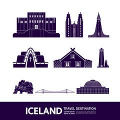 Wall Mural - Iceland travel destination grand vector illustration.