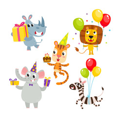 Collection of cartoon animals with gifts, balloons isolated on white.