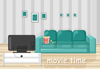 Couch and TV Vector flat style. Movie time in the livingroom illustration