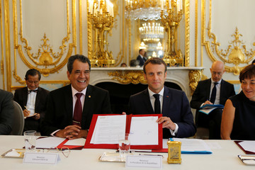 French President Emmanuel Macron attends a meeting with Edouard Fritch, President of French Polynesia, at the Elysee Palace in Paris