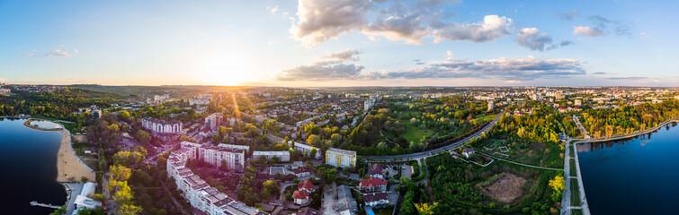 Panoramic aerial shot of Valea Morilor Park at sunset Wall mural