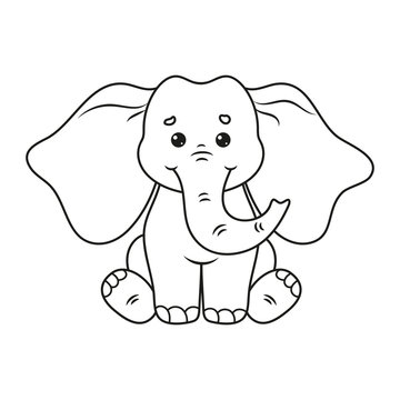 Coloring page with cute elephant. Vector Illustration.