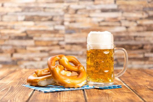 pretzel and beer for german oktoberfest