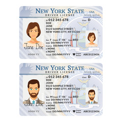 Vector template of sample driver license plastic card for USA New York