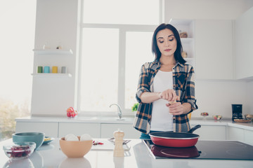 Portrait of beautiful housewife have feast products fresh gourmet flavor dressed trendy stylish checkered shirt stand desk kitchen apartment she her