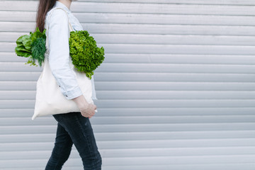 Woman holding an eco bag filled with grocery. Vegetables and fruits are hanging from a bag. Ecology or environment protection concept. White eco bag for mock up.