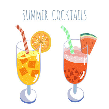 Tropical cocktails set, summer drinks, vector hand drawn illustration. Isolated cocktail glass with beverages. Trendy flat design