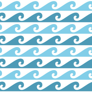 Blue and white seamless wave pattern, line wave ornament in maori tattoo style for fabric, textile, wallpaper. Japan style ornament.
