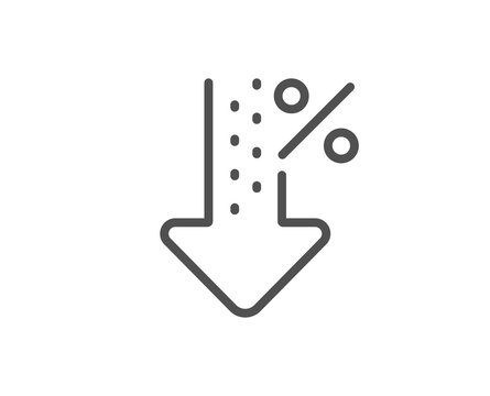 Low percent line icon. Discount sign. Credit percentage decrease symbol. Quality design element. Linear style low percent icon. Editable stroke. Vector