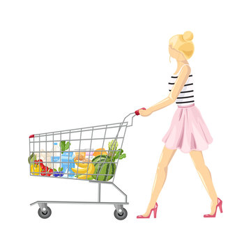 Woman with a shopping cart Vector flat style. Product icon sale concepts