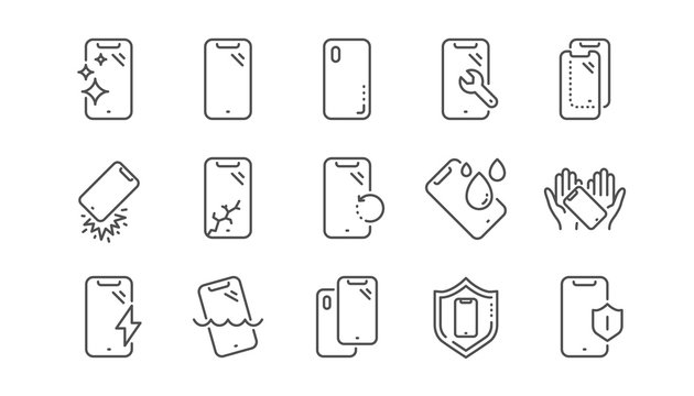 Smartphone protection line icons. Tempered glass, screen protector and water resistant. Phone cover, display glass protection and shockproof device icons. Linear set. Vector