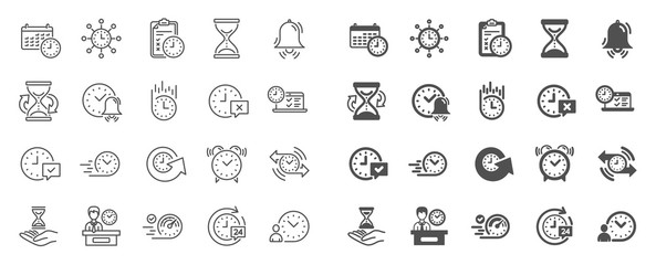 Fototapeta Time line icons. Set of Calendar, Time management timer and Delivery service linear icons. Checklist, Stopwatch timer and hourglass. 24 hours and Presentation, calendar, checklist test. Vector obraz