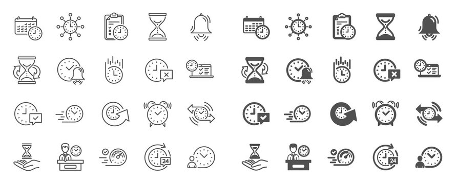 Time line icons. Set of Calendar, Time management timer and Delivery service linear icons. Checklist, Stopwatch timer and hourglass. 24 hours and Presentation, calendar, checklist test. Vector