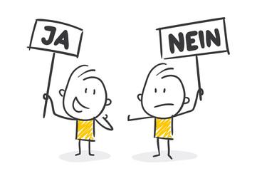 Strichfiguren / Strichmännchen: Ja Nein. (Nr. 396) Fototapete