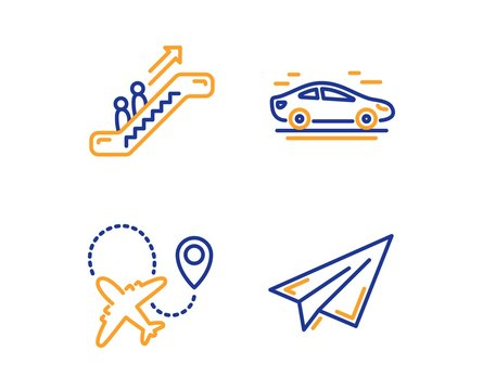 Car, Airplane and Escalator icons simple set. Paper plane sign. Transport, Plane, Elevator. Airplane. Transportation set. Linear car icon. Colorful design set. Vector
