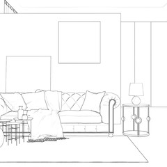3d illustration. Sketch of сozy room interior