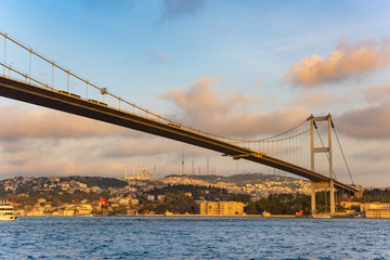 Bosphorus Sultan Mehmet Bridge in Istanbul at sunset. Turkey