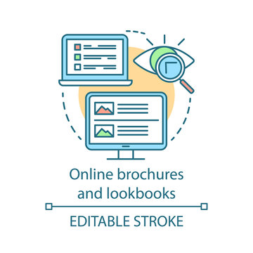 Online brochures and lookbooks concept icon. Content marketing channels idea thin line illustration. Information file, photographs collection. Vector isolated outline drawing. Editable stroke