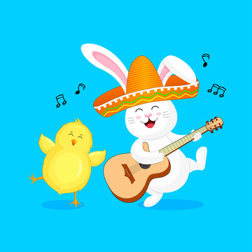 Funny cartoon rabbit characters with mexican hat. Playing guitar and dancing with little chick. Human friends animals. Illustration isolated on blue background.