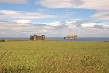 Tantallon castle and Bass Rock, Scotland