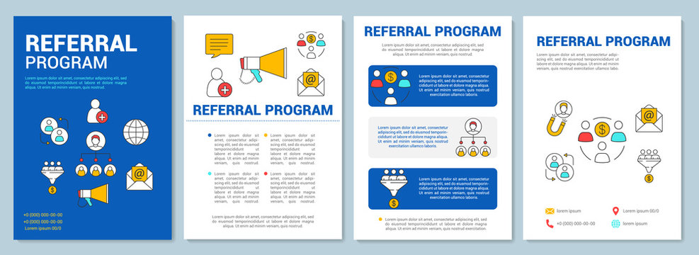 Marketing referral program brochure template layout. Customer attraction. Flyer, booklet, leaflet print design with linear illustrations. Vector page layout for magazines, reports, advertising posters