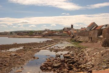 Dunbar shore near harbour in Scotland