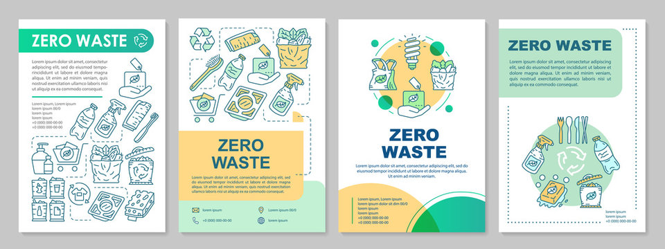 Zero waste lifestyle brochure template layout. Eco-friendly flyer, booklet, leaflet print design with linear illustrations. Vector page layouts for magazines, annual reports, advertising posters