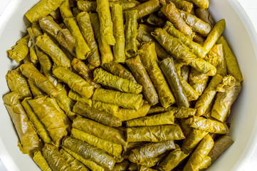 Top view of traditional Turkish food, stuffed vine leaves with rice