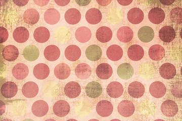 Ronds colorés positionnés en ligne sur fond rose tendre. Thématique noël vintage