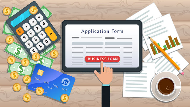 Online business loan or lending concept. Home mortgage. Flat tablet with loan application form and hand click button on desk with cash, calculator, credit card, pencil, cup of coffee, chart.