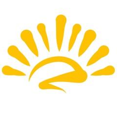Rising or setting yellow shining sun