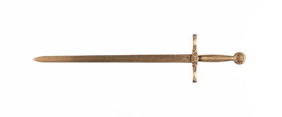 golden sword isolated on white background Fototapete