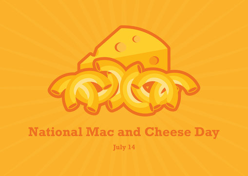 National Mac and Cheese Day vector. Macaroni and Cheese vector. Pasta with cheese icon. National Mac and Cheese Day Poster, July 14. Important day