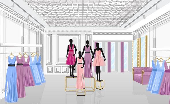 Fashion boutique with dresses Vector illustration. Shop store front views