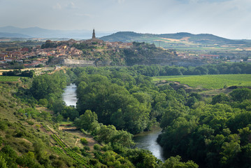 Ebro river with Briones village as background, La Rioja, Spain