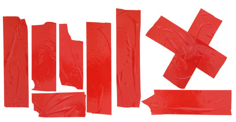 Set of red adhesive tapes isolated on white background