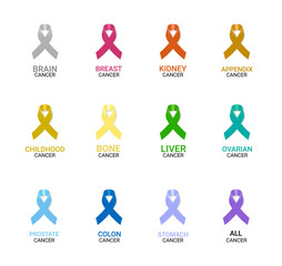 Cancer Awareness Ribbon Set on white background