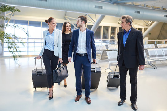 Group of business people in the airport terminal