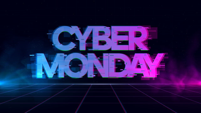 Cyber Monday Retrowave Glitch banner with blue and purple glows with smoke and particles.