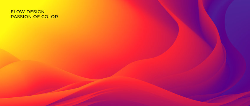 Color wave flow red background. Abstract liquid colour motion with a fluid lines and a smooth gradient. Eps10.