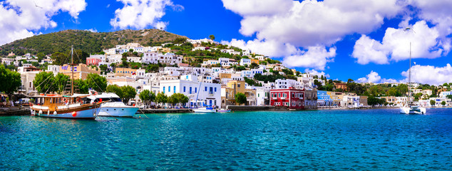 Beautiful traditional Greek island Leros. Dodecanese. view of Agia Marina village and port